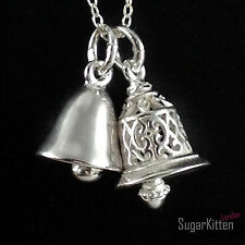 925 Sterling Silver 3D Jingle Bell Filigree Hollow / Shiny Solid Pendant Charm