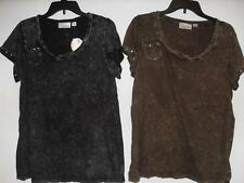 New Women's Avenue Short Sleeve Shirt - Brown or Black - Size 14/16 - NWT $19.80