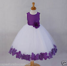 WHITE FLOWER GIRL DRESS PURPLE BLUE WEDDING PAGEANT 12-18M 2 2T 3T 4 4T 5 6 8 10