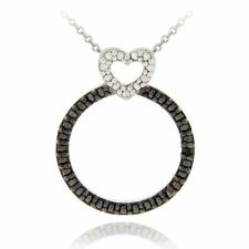 Sterling Silver Black Diamond Accent Heart on Circle Pendant