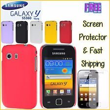 Samsung Young Y S5360 Hard Hybrid Litchi Texture Cover Case FREEScreen Protector