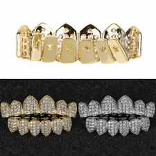 Gold / Silver  Plated Hip Hop Teeth Grillz Caps Top & Bottom Grill Set Popular