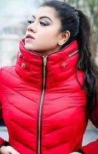 Zara Red Quilted Short Anorak Puffer Jacket With Hidden Hood Fur Lining XS S M