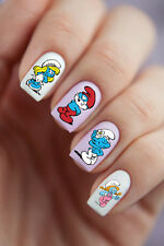 12 pcs Sheets Nail Art Stickers Water Slide Decals DIY Cartoons Smurfs