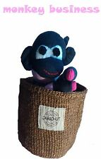 Sock monkey in african basket hand made unique gift