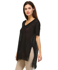 New Women's Black V Neck Side Slit Tunic Top T Shirt Made in USA Size S M L