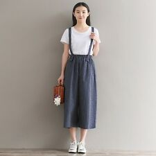 Lady Linen Strap Tousers Striped Overalls Dungarees Cropped Pants Rompers Baggy