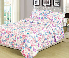 Twin or Full Bedding Quilt Bedspread Bed Set Butterfly Girls Pink Purple Blue