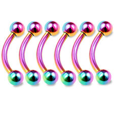 6pcs 16g Curved Barbell Lip Tragus Eyebrow Lobe Helix Conch Rook Rainbow 184