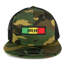 Jah Love Green Yellow Red Embroidered Patch Camo Flat Bill Snapback Mesh Cap