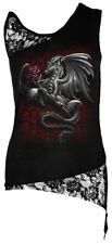 Spiral Dragon Rose, Adj Shoulder Lace Top Black|Dragon|Roses|Wings|Gothic