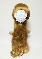 White Rose Flower Satin Chiffon Fabric Flower Hair Clip Brooch Corsage