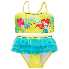 NWT Disney Store Princess Ariel Swimsuit Little Mermaid 2pc UPF 50+ Girls