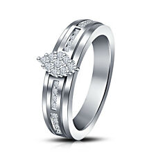 Prong Simulated Diamond Solid 14k White Gold Wedding Ring Size 5 6 7 8