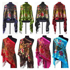 Women Lady Embroidered Peacock Vintage Beaded Velvet Silk Scarf Wrap Shawl
