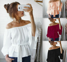 Women Summer Long Sleeve Off Shoulder Tied Striped Blouse Casual Tops Shirt NEW