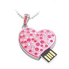 Pink Crystal Heart USB Flash Drive Pendrive Stick 16GB 32GB USB 2.0 Memory Stick