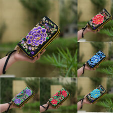 Women's Peony Embroidery Cellphone Canvas Clutch Handbag Purse Wallet Bag