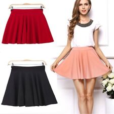 Women High Waist Stretch Skater Mini Skirt Flared Pleated A-Line Short Dress UU