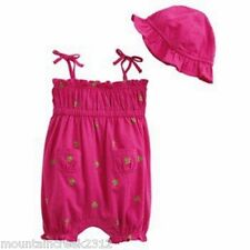 New CHAPS Girl's Outfit Size 6 months TURTLE Romper Cotton One Piece & Hat Set