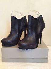 BRONX BLACK LEATHER HIGH HEEL ANKLE BOOTS SIZE 3.5/36