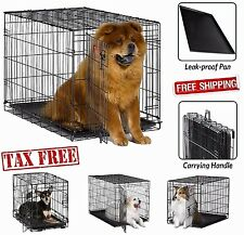 Folding Metal Dog Crate Single Door Animal Cage Portable Pet Kennel Puppy Crates