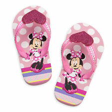 NWT Disney Store Minnie Mouse Pink Flip Flops Sandals Shoes Girls 7/8,9/10,11/12