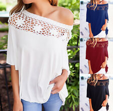 UK Womens Off Shoulder Lace T-Shirt Ladies Summer Beach Casual Loose Tops Blouse