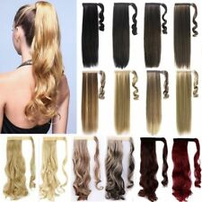 "US 17""+ Long Real Straight Curly Wrap on Ponytail Clip In Hair Extensions Women#"