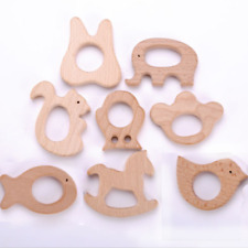Cute Safe Natural Wooden Animal Shape Ring Baby Teether Teething Toy Shower Best