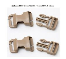 ITW QASM Quick Attach Buckle for MOLLE - 2 Pack - Black Coyote Brown Foliage TAN