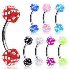 316L Surgical Steel Curved Barbell/Eyebrow Ring w/ UV Coated Acrylic Dice Balls