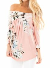 Dokotoo Womens Casual Off Shoulder Drape Floral Print 3 4 Sleeve Blouses Tops...