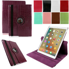 For Apple iPad Pro Mini Air Crocodile PU Leather 360 Rotating Stand Smart Case