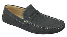 Men's Flat Casual Perforated Shoes Slip On Loafers Moccasin ARIDER Black CHRIS02