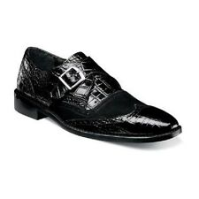 Stacy Adams Mens Shoes Arrico Black Crocodile Print Leather Suede 25003-001