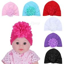 3Pcs Newborn Baby Infant Girl Toddler Comfy Lace Floral Knotted Cap Beanie Hat
