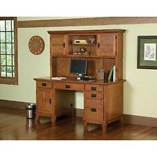 Home Styles Arts and Crafts Cottage Oak Pedestal Desk and Hutch Set New