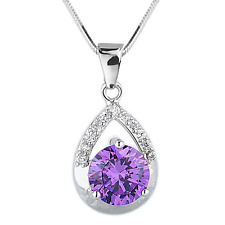 FASHIONS FOREVER® 925 Sterling Silver Teardrop-CZ AAA-Zirconia Necklace-Pendant