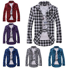 New Men's Plaids Long sleeve Casual Business Slim Formal Stylish Dress Shirts