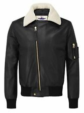 Mens B3 Bomber aviator pilot Real White fur Shearling collar leather jacket new