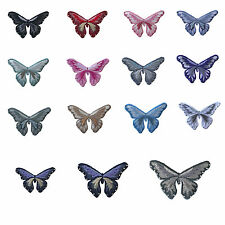 Lily Iron on Embroidery Butterfly Pink Blue Purple Red  Black Brown Gray White