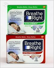 2xBreathe Right  Nasal Strips Extra 44 Strips Tan/Clear New Sealed Free Shipping