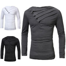 PODOM Mens Stylish Slim Fit Long Sleeve Casual Crew Neck Shirt T-shirts Tops Tee