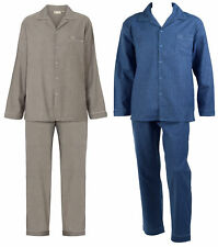 Walker Reid Mens Checked Pyjamas 100% Cotton Button Up Top Traditional PJs Set