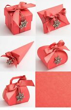 Luxury DIY Wedding Christening Baby Party Favour Gift Sweet Boxes - CORAL SILK