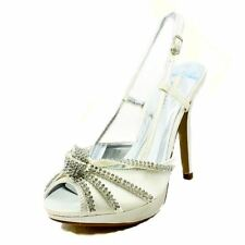 Ivory satin high heel sling back sandals with diamante crossed toe