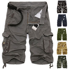 Fashion Mens Casual Slim Fit Cotton Cargo Army Short Pants Work Shorts Summer
