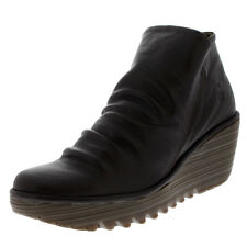 Womens Fly London Yip Wedge Mousse Platform Leather Ankle Boot Mid Heel US 5-11
