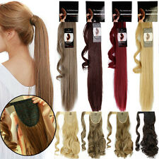 100% Long Thick Ponytail Clip in Hair Extension Wrap Around Pony Tail Layered T4